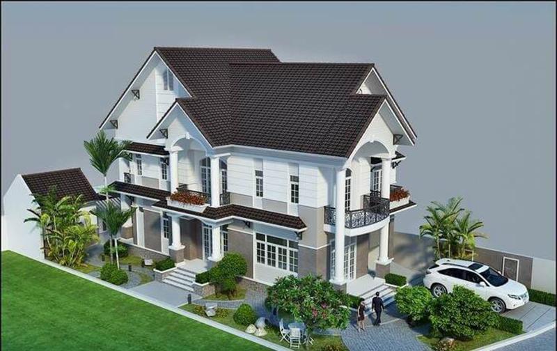 Thiết kế thi công nhà mái thái 1 trệt 1 lầu đẹp
